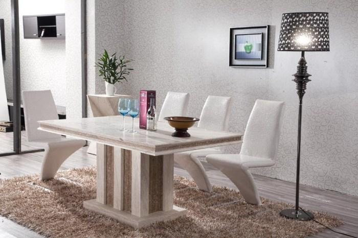 Белый стол из камня