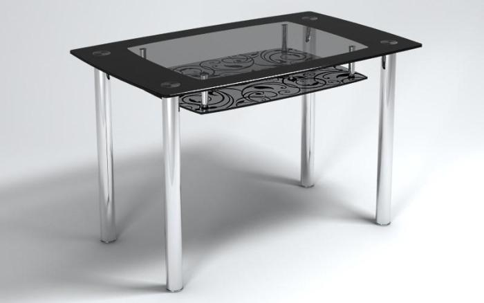Металлический стол со стеклом