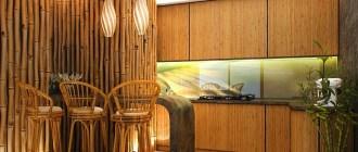 Бамбуковые обои – потрясающий акцент в интерьере кухни