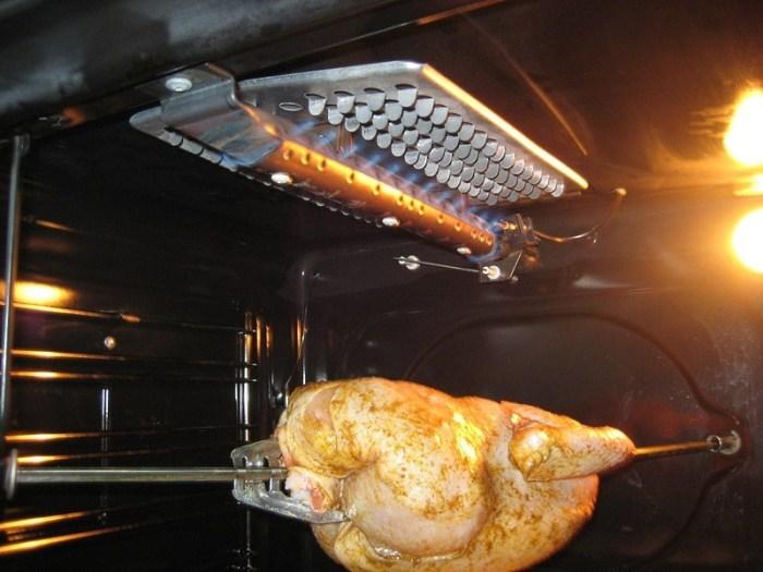 курица на вертеле в газовой духовке