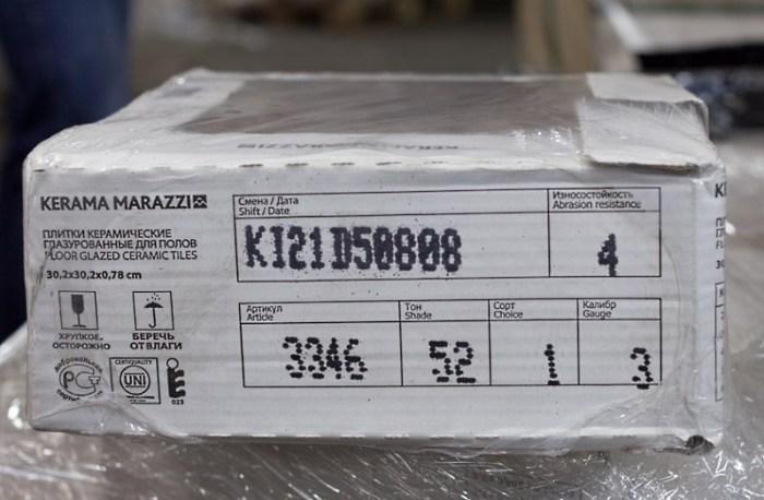 маркировка на упаковке плитки