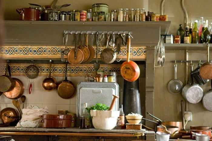 кастрюли и сковородки висящие на кухне