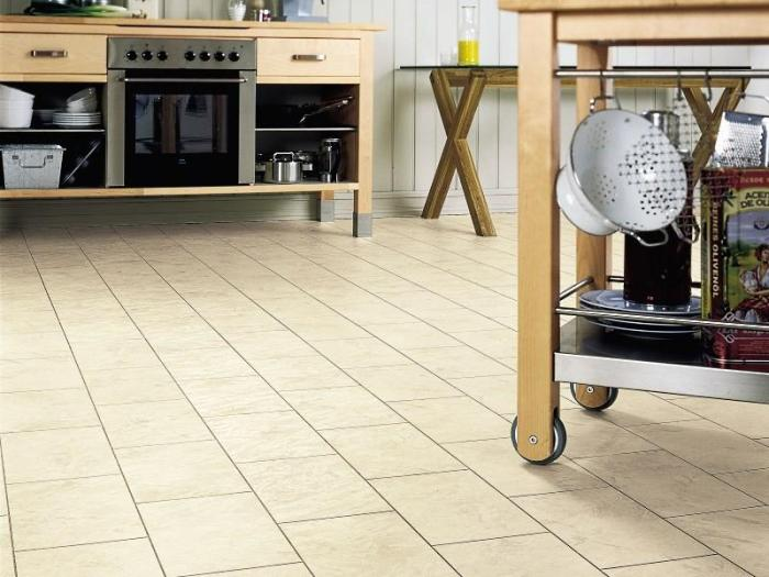 Линолеум под плитку на кухне