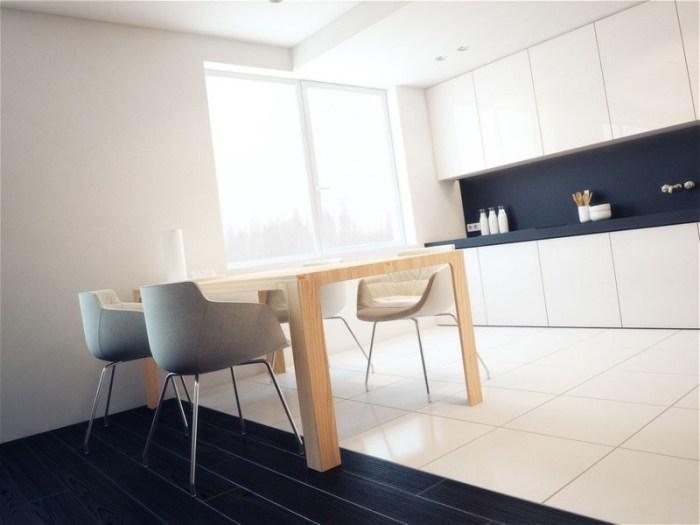Деревянный стол на кухне в минималистичном стиле