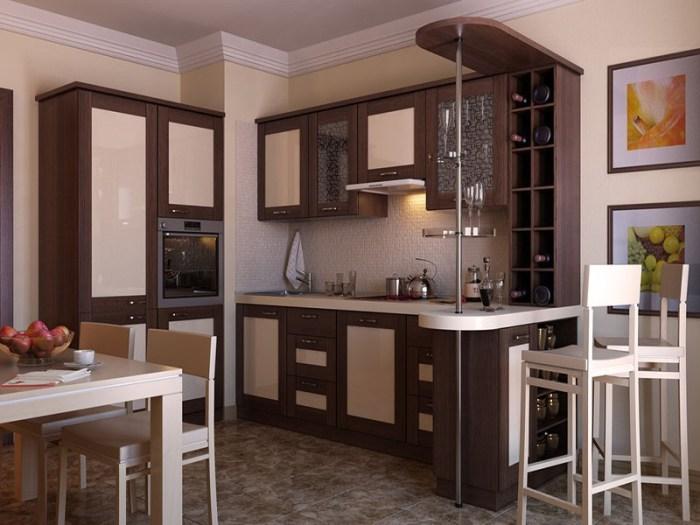 Барная стойка на кухне оригинально