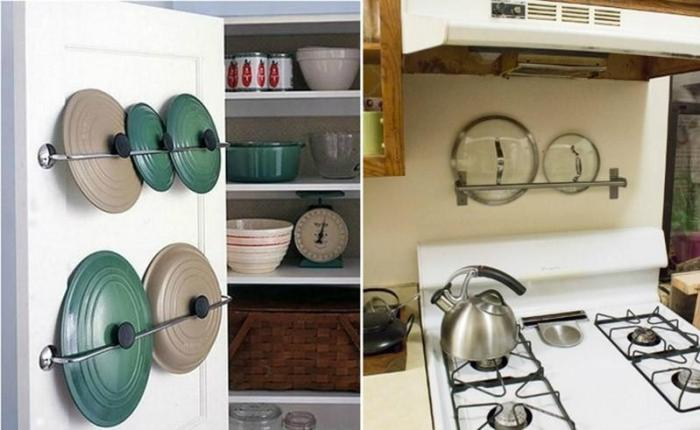 Хранение крышек на кухне на перекладине