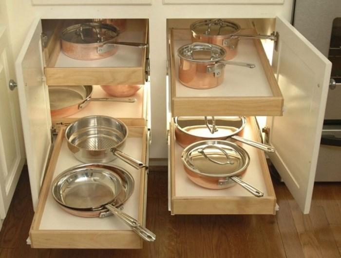 Хранение посуды в выдвижных ящиках