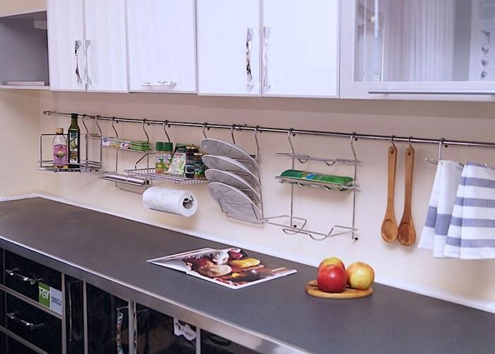 Рейлинги удобная система хранения на кухне