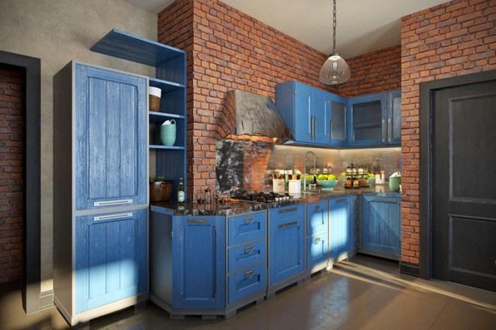 Кухня-лофт красный кирпич синяя мебель