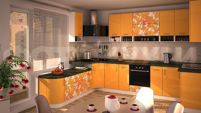 Рисунок с листьями на оранжевых фасадах мебели