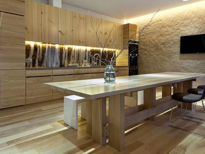 Японский минимализм на кухне из дерева