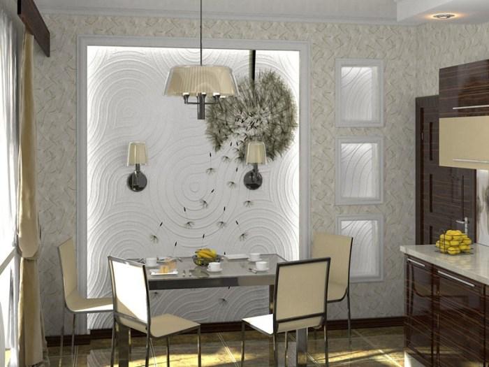 Обеденная зона с подсветкой стены и аппликацией одуванчика