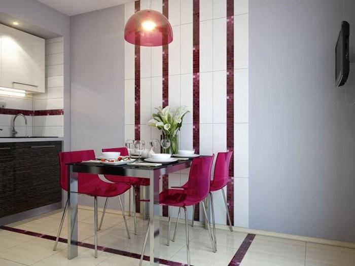Керамическая плитка на стене где зона обедов
