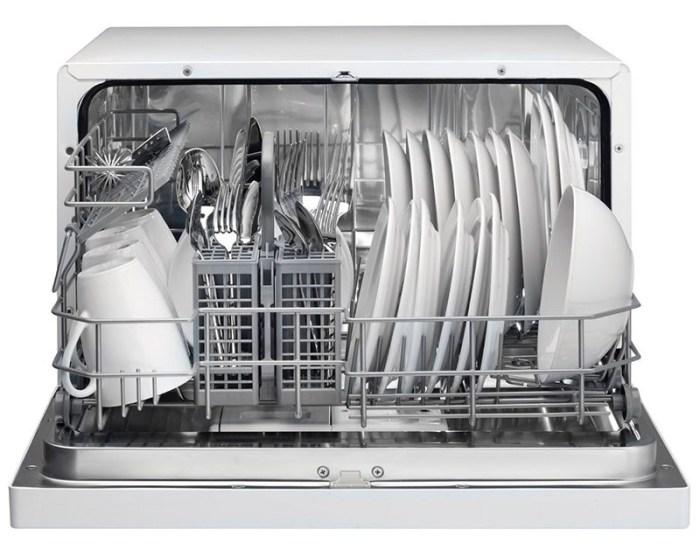 Компактная модель посудомойки загруженная посудой