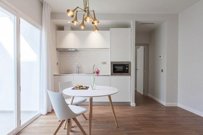 Кухня-ниша в большом длинном помещении