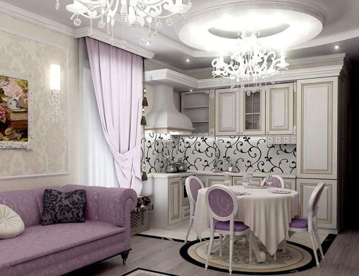 Белый цвет помещения и сиреневые детали