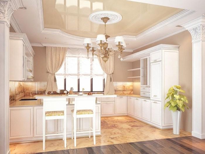 Белый кухонный потолок с цветной вставкой