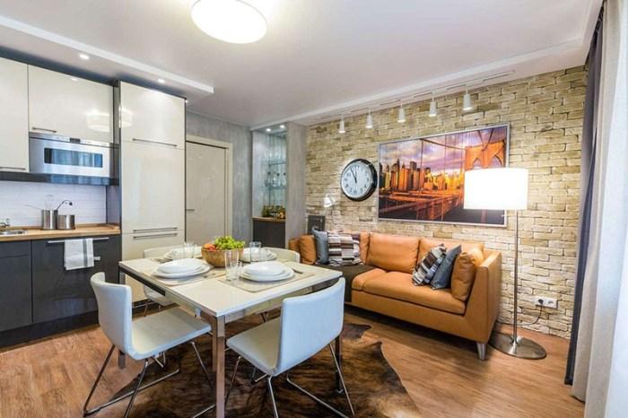 Диванная зона в урбанистическом стиле с кожаным диваном