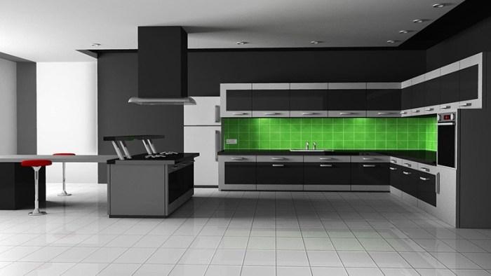 Ярко-зеленый фартук на темной кухне