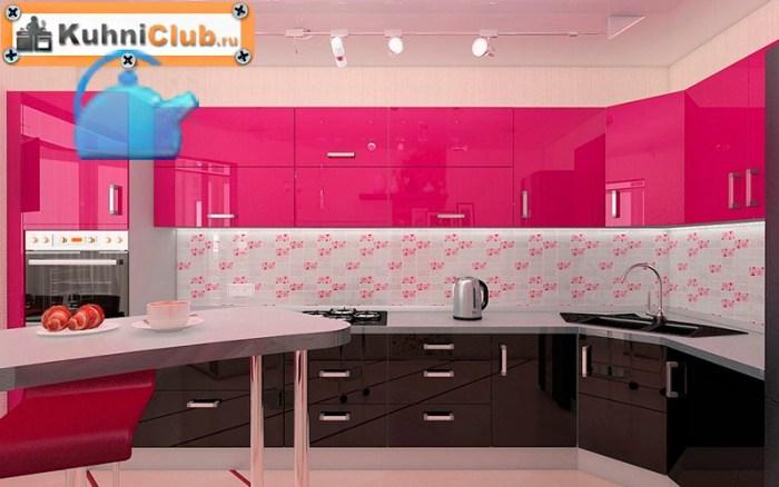 Кухня-в-розово-коричневом-цвете
