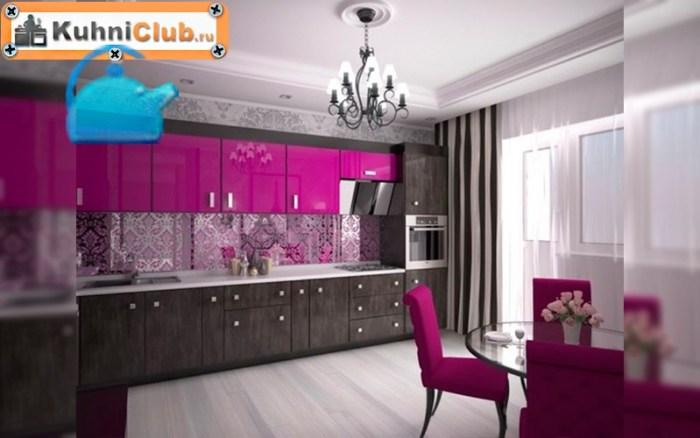 Яркий-розовый-цвет-в-кухне