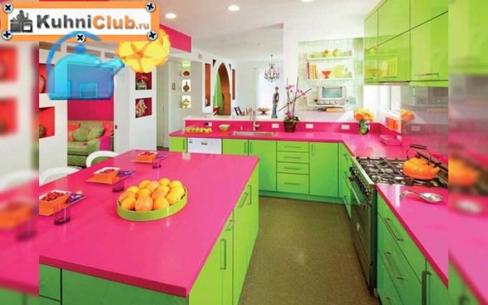 Кухня-в-зелено-розовом-цвете