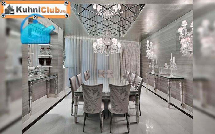 Зеркальные-плиты-на-потолке-кухни