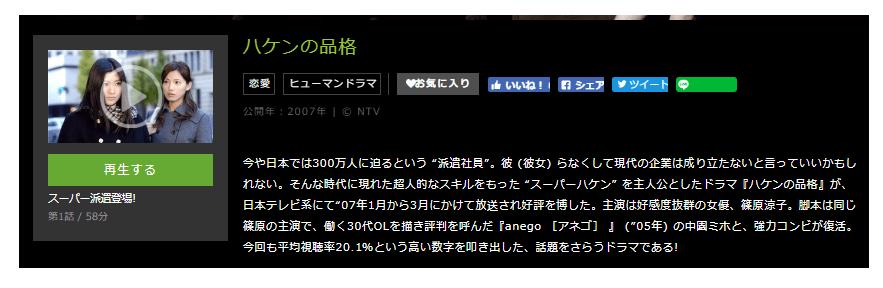 ドラマ「ハケンの品格」の全動画(1話~10話<最終回>)