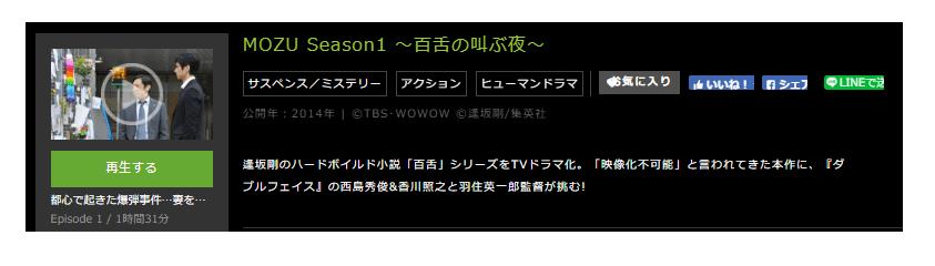 「MOZU Season1 ~百舌の叫ぶ夜~」のドラマ動画(1話~10話<最終回>)