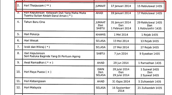 Kedah Cuti Hari Thaipusam 17 Januari 2014