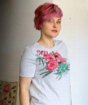 Ručno oslikana majica MAKOVI
