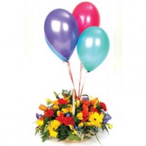 flores-globos-adorno-fiesta-canasta-arreglo