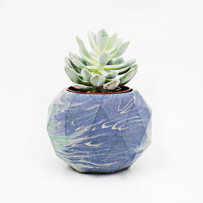 Planter Pot Roma Via Margutta, marble green blue, turquoise and white. Octogonal shape handmade in Berlin by Kula.