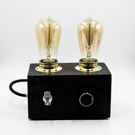 RADIO LAMP BLACK EDISON made with concret, two bulbs and a dimming button.