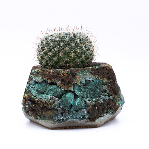 Planter Pot Amsterdam Patina Ferdinand Bolstraat, grey, terracotta and blue, oxydation effect with incrusted mineral stone, handmade in Berlin.