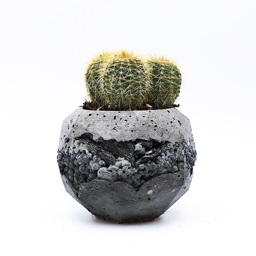 Concrete Planter pot Roma Via Sacra light and dark grey with mineral stones, hexagonal shape, handmade in Berlin.