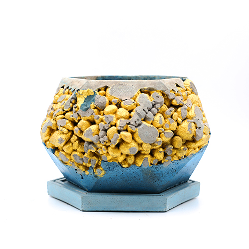 Concrete Planter pot kintsugi turquoise blue and grey with gold structure, octogonal shape, handmade in Berlin.
