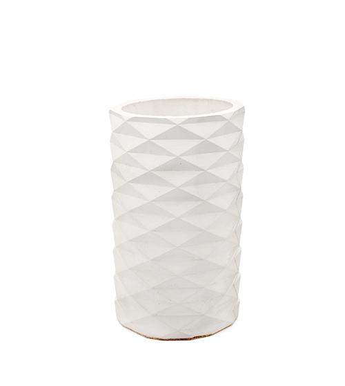 Cooler bucket and vase Granviller blanc, minimalist triangle details, handmade with concrete in Berlin.
