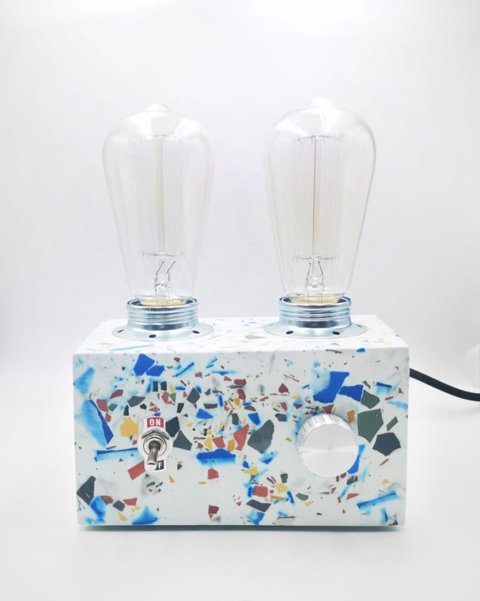 Retro Lamp Terrazzo, multicolor with two vintages bulbs handmade in Berlin with white porcelain clay.