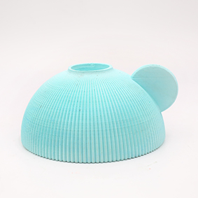 Minimalist turquoise stick light Candle holder PERUGIA Via Ada, hemisphere shape and small grip in the side.