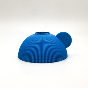 Minimalist blue Stick light Candle holder PERUGIA Via S. Paolo, hemisphere shape and small grip in the side.