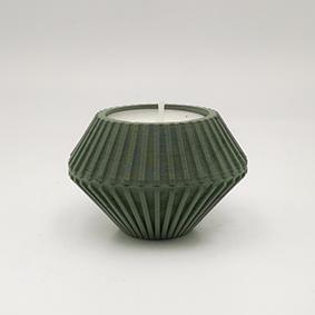 Minimalist design Tea light Candle holder TREVI Via delle Grotte, hexagonal shape and green color.