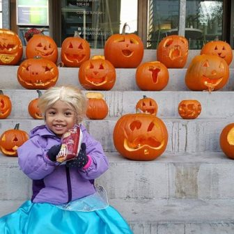 My First Time Trick Or Tricking - Kaite with pumpkins