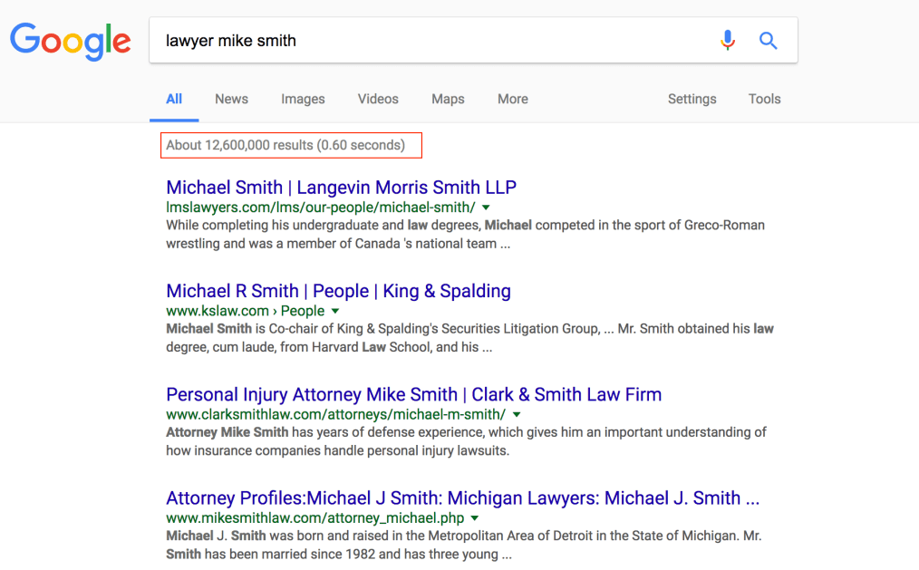 personal branding google results for lawyer mike smith