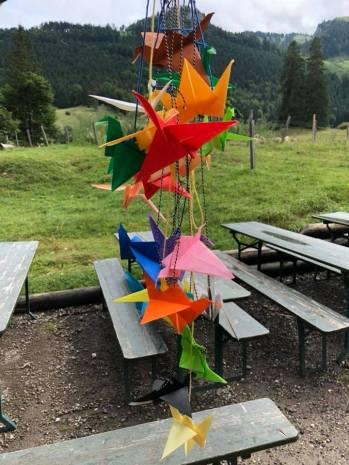 Kunst in den Bergen am 21. Juli 2018 in der Frasdorfer Hütte. Masterclass Kunst für Kinder und Jugendliche mit der Künstlerin Emilie Lauwers