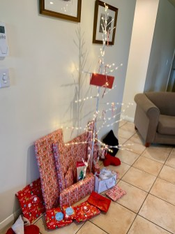 A very modern interpretation of a Christmas tree at the holiday flat of Grant's parents in Martinborough where they stayed for Christmas