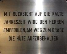 Schild im Bestattungsmuseum