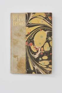 Koloman Moser, Bucheinband , Ausführung: Wiener Werkstätte, um 1909. Pergament mit Goldprägung, Tunkpapier. © Sammlung Richard Grubman