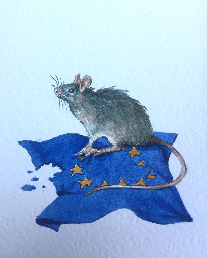 11. 4. 20 Ratto d'Europa (cm 15x10 acquerello su carta)
