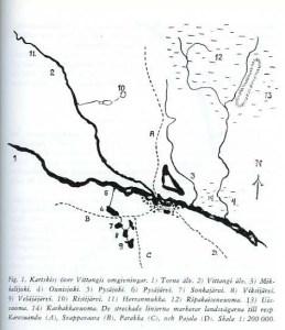 Karta över Vittangi bys slåttermarker omkring 1896. © Norrbottens museum
